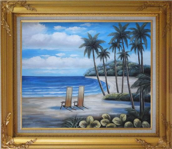 Framed Two Chairs at the Hawaii Beach with Palm Trees Oil Painting Seascape America Naturalism Gold Wood Frame with Deco Corners 27 x 31 Inches