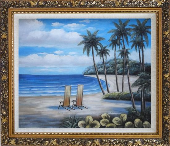 Framed Two Chairs at the Hawaii Beach with Palm Trees Oil Painting Seascape America Naturalism Ornate Antique Dark Gold Wood Frame 26 x 30 Inches