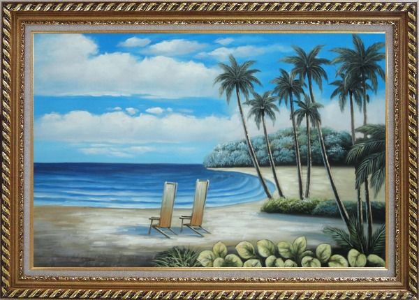 Framed Two Chairs at the Hawaii Beach with Palm Trees Oil Painting Seascape America Naturalism Exquisite Gold Wood Frame 30 x 42 Inches