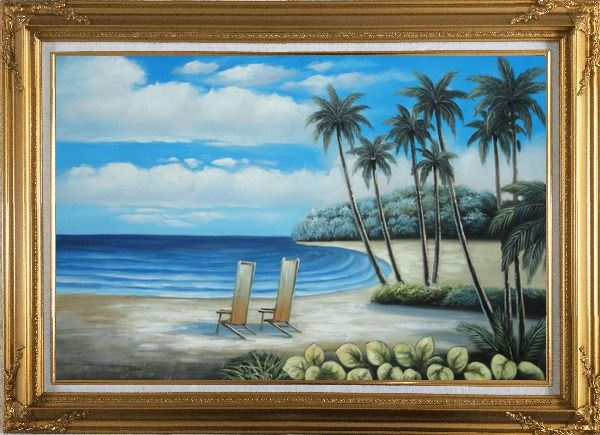 Framed Two Chairs at the Hawaii Beach with Palm Trees Oil Painting Seascape America Naturalism Gold Wood Frame with Deco Corners 31 x 43 Inches