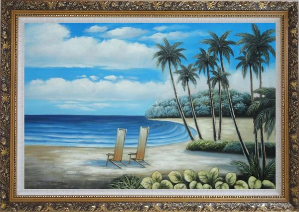 Framed Two Chairs at the Hawaii Beach with Palm Trees Oil Painting Seascape America Naturalism Ornate Antique Dark Gold Wood Frame 30 x 42 Inches