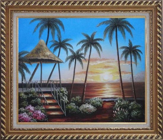 Framed Hawaii Straw Hut with Palm Trees on Sunset Oil Painting Seascape America Naturalism Exquisite Gold Wood Frame 26 x 30 Inches