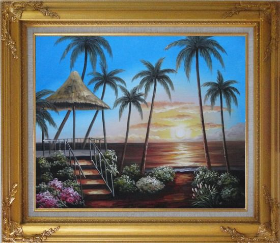 Framed Hawaii Straw Hut with Palm Trees on Sunset Oil Painting Seascape America Naturalism Gold Wood Frame with Deco Corners 27 x 31 Inches