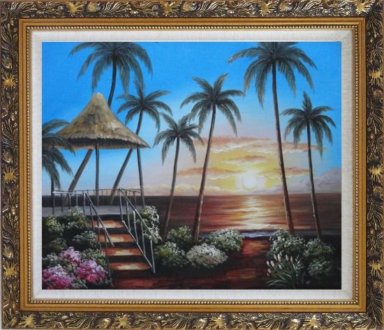 Framed Hawaii Straw Hut with Palm Trees on Sunset Oil Painting Seascape America Naturalism Ornate Antique Dark Gold Wood Frame 26 x 30 Inches