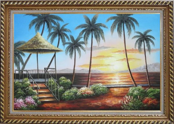 Framed Hawaii Straw Hut with Palm Trees on Sunset Oil Painting Seascape America Naturalism Exquisite Gold Wood Frame 30 x 42 Inches