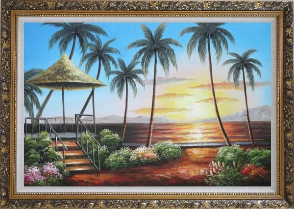 Framed Hawaii Straw Hut with Palm Trees on Sunset Oil Painting Seascape America Naturalism Ornate Antique Dark Gold Wood Frame 30 x 42 Inches