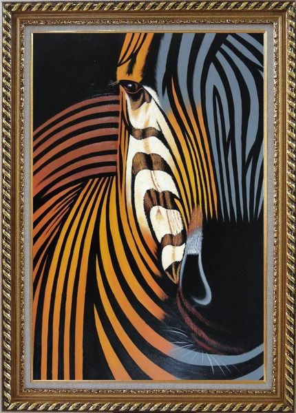 Framed Colorful Modern Zebra I Oil Painting Animal Decorative Exquisite Gold Wood Frame 42 x 30 Inches