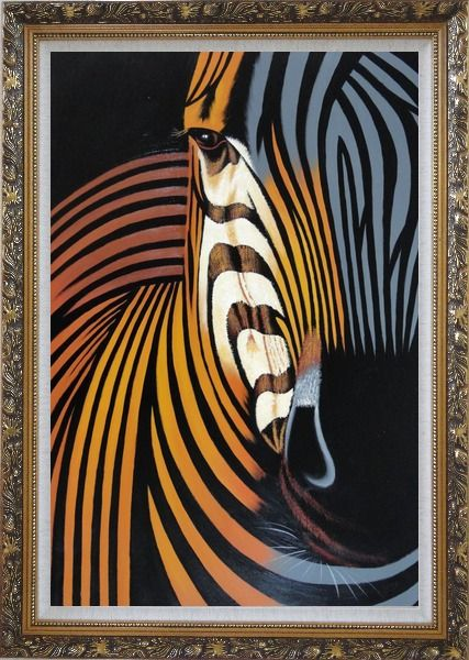 Framed Colorful Modern Zebra I Oil Painting Animal Decorative Ornate Antique Dark Gold Wood Frame 42 x 30 Inches