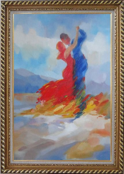 Framed Couple in Red and Blue Dancing in the Wild Oil Painting Portraits Impressionism Exquisite Gold Wood Frame 42 x 30 Inches