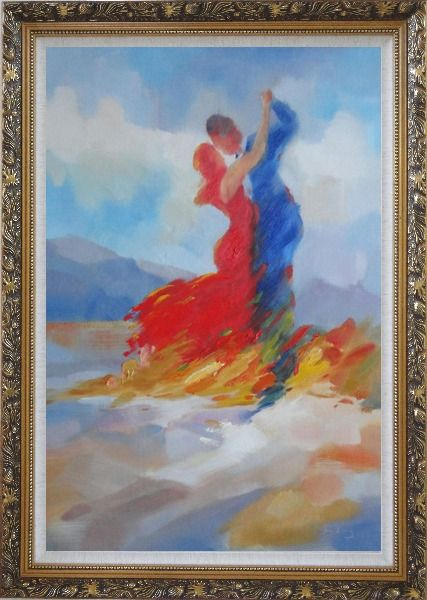 Framed Couple in Red and Blue Dancing in the Wild Oil Painting Portraits Impressionism Ornate Antique Dark Gold Wood Frame 42 x 30 Inches