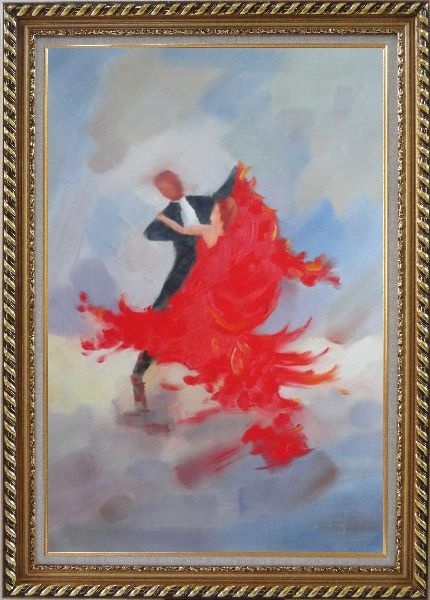 Framed Couple Rise and Dance Happily Oil Painting Portraits Impressionism Exquisite Gold Wood Frame 42 x 30 Inches