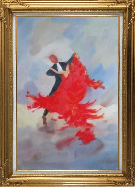 Framed Couple Rise and Dance Happily Oil Painting Portraits Impressionism Gold Wood Frame with Deco Corners 43 x 31 Inches