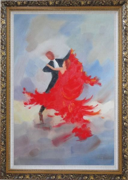 Framed Couple Rise and Dance Happily Oil Painting Portraits Impressionism Ornate Antique Dark Gold Wood Frame 42 x 30 Inches