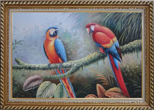 Framed Pair of Blue Red Parrots Perched on Tree Oil Painting Animal Classic Exquisite Gold Wood Frame 30 x 42 Inches