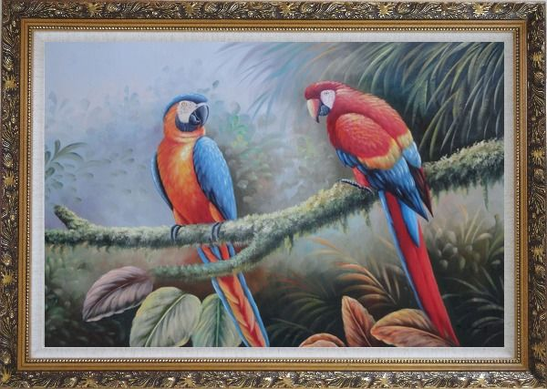 Framed Pair of Blue Red Parrots Perched on Tree Oil Painting Animal Classic Ornate Antique Dark Gold Wood Frame 30 x 42 Inches