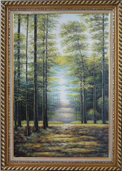 Framed Genial Sunshine over Road in Peaceful Forest Oil Painting Landscape Tree Classic Exquisite Gold Wood Frame 42 x 30 Inches