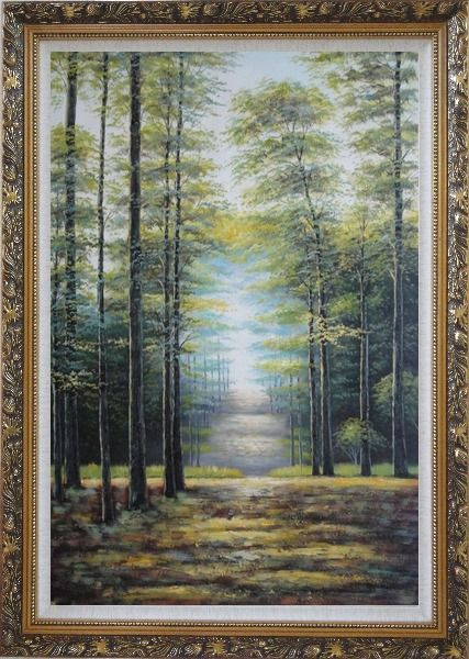 Framed Genial Sunshine over Road in Peaceful Forest Oil Painting Landscape Tree Classic Ornate Antique Dark Gold Wood Frame 42 x 30 Inches