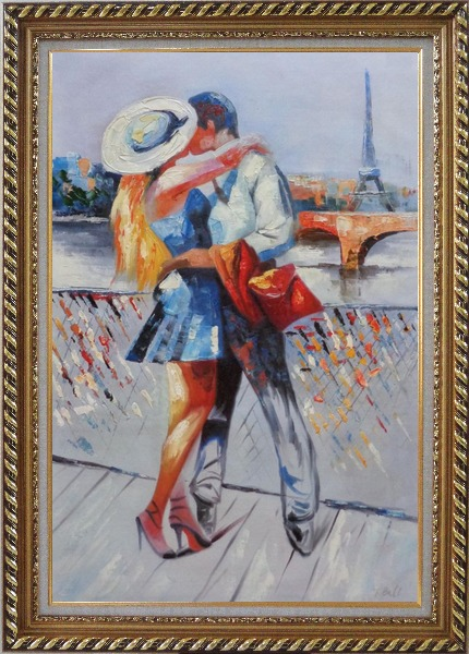 Framed Long Passionate Kiss on Pont des Arts with Eiffel Tower in Background Oil Painting Portraits Couple Impressionism Exquisite Gold Wood Frame 42 x 30 Inches