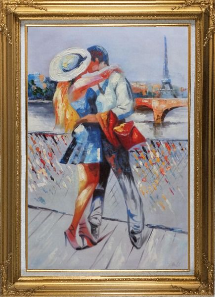 Framed Long Passionate Kiss on Pont des Arts with Eiffel Tower in Background Oil Painting Portraits Couple Impressionism Gold Wood Frame with Deco Corners 43 x 31 Inches