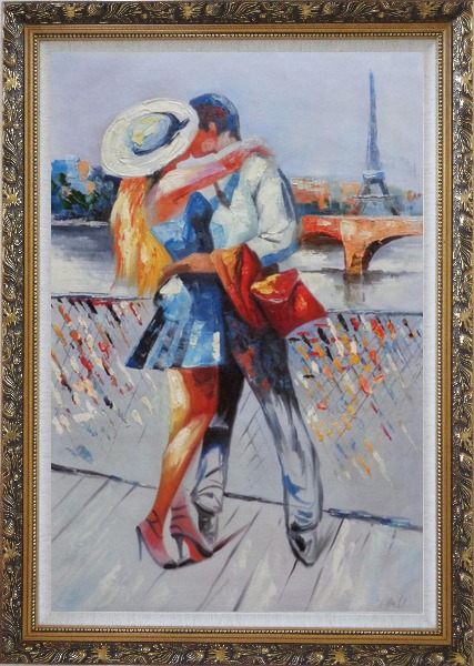 Framed Long Passionate Kiss on Pont des Arts with Eiffel Tower in Background Oil Painting Portraits Couple Impressionism Ornate Antique Dark Gold Wood Frame 42 x 30 Inches