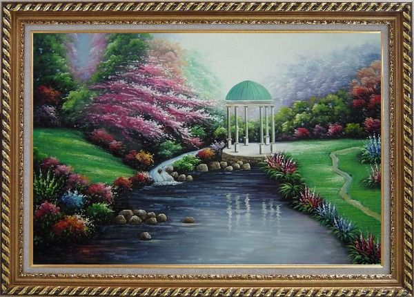 Framed Small Pavilion in Beautiful Water Garden with Flowers Oil Painting Naturalism Exquisite Gold Wood Frame 30 x 42 Inches