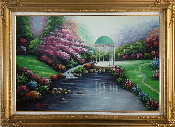 Framed Small Pavilion in Beautiful Water Garden with Flowers Oil Painting Naturalism Gold Wood Frame with Deco Corners 31 x 43 Inches