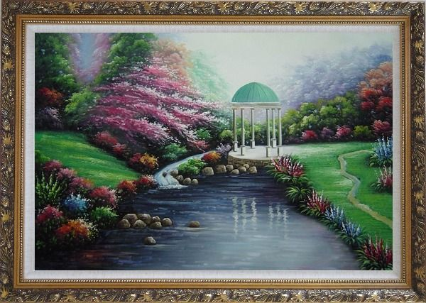 Framed Small Pavilion in Beautiful Water Garden with Flowers Oil Painting Naturalism Ornate Antique Dark Gold Wood Frame 30 x 42 Inches