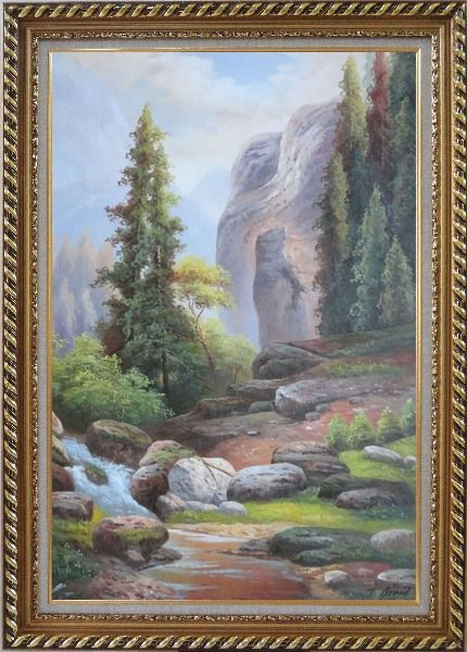 Framed Small Stream Creek through Mountain Valley Rocks Scenery in Autumn Oil Painting Landscape Classic Exquisite Gold Wood Frame 42 x 30 Inches