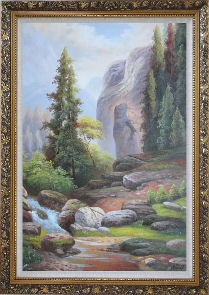 Framed Small Stream Creek through Mountain Valley Rocks Scenery in Autumn Oil Painting Landscape Classic Ornate Antique Dark Gold Wood Frame 42 x 30 Inches