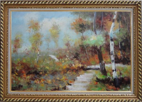 Framed Autumn Birch Forest in Front of Village, Impressionism Oil Painting Landscape Tree Exquisite Gold Wood Frame 30 x 42 Inches