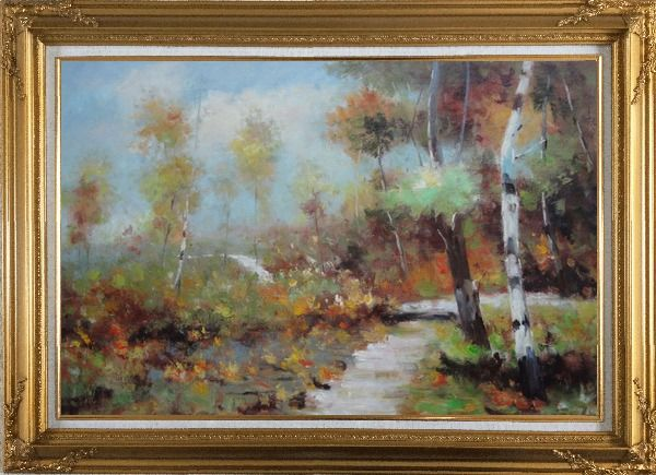 Framed Autumn Birch Forest in Front of Village, Impressionism Oil Painting Landscape Tree Gold Wood Frame with Deco Corners 31 x 43 Inches
