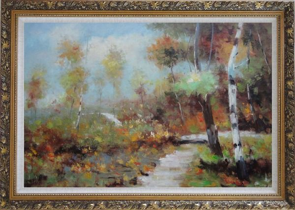 Framed Autumn Birch Forest in Front of Village, Impressionism Oil Painting Landscape Tree Ornate Antique Dark Gold Wood Frame 30 x 42 Inches