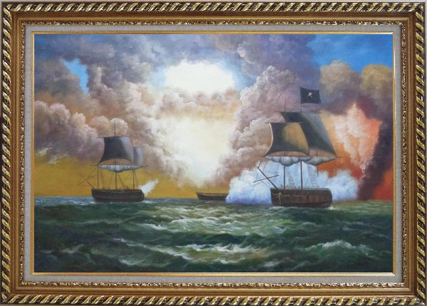 Framed Pirate Ship Attack Merchant Ships in Sea Oil Painting Boat Classic Exquisite Gold Wood Frame 30 x 42 Inches