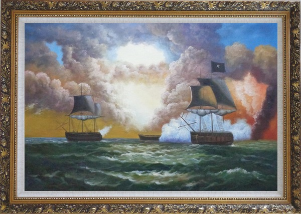 Framed Pirate Ship Attack Merchant Ships in Sea Oil Painting Boat Classic Ornate Antique Dark Gold Wood Frame 30 x 42 Inches