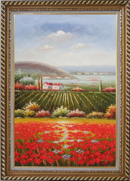 Framed Tuscany Country Landscape with Vineyard Flower Field Oil Painting Italy Naturalism Exquisite Gold Wood Frame 42 x 30 Inches