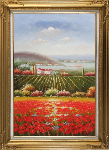 Framed Tuscany Country Landscape with Vineyard Flower Field Oil Painting Italy Naturalism Gold Wood Frame with Deco Corners 43 x 31 Inches