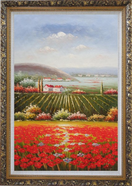 Framed Tuscany Country Landscape with Vineyard Flower Field Oil Painting Italy Naturalism Ornate Antique Dark Gold Wood Frame 42 x 30 Inches