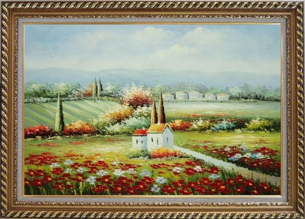 Framed Flower Field Blossoming in Tuscany, Italy Oil Painting Landscape Naturalism Exquisite Gold Wood Frame 30 x 42 Inches