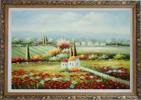Framed Flower Field Blossoming in Tuscany, Italy Oil Painting Landscape Naturalism Ornate Antique Dark Gold Wood Frame 30 x 42 Inches