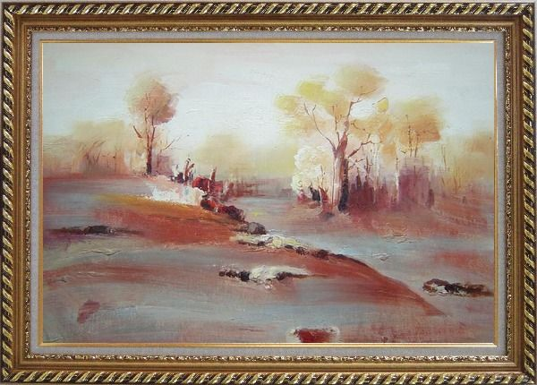 Framed Modern Painting of Trees in White and Red Background Oil Landscape Impressionism Exquisite Gold Wood Frame 30 x 42 Inches