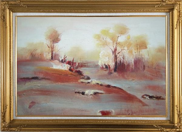 Framed Modern Painting of Trees in White and Red Background Oil Landscape Impressionism Gold Wood Frame with Deco Corners 31 x 43 Inches