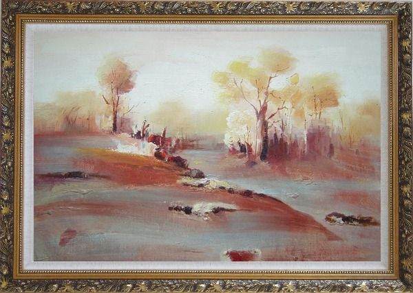 Framed Modern Painting of Trees in White and Red Background Oil Landscape Impressionism Ornate Antique Dark Gold Wood Frame 30 x 42 Inches