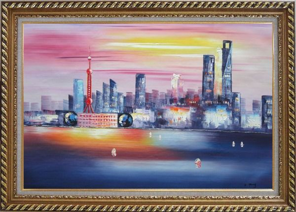 Framed Shanghai Skyline At Huangpu River Oil Painting Cityscape China Modern Exquisite Gold Wood Frame 30 x 42 Inches