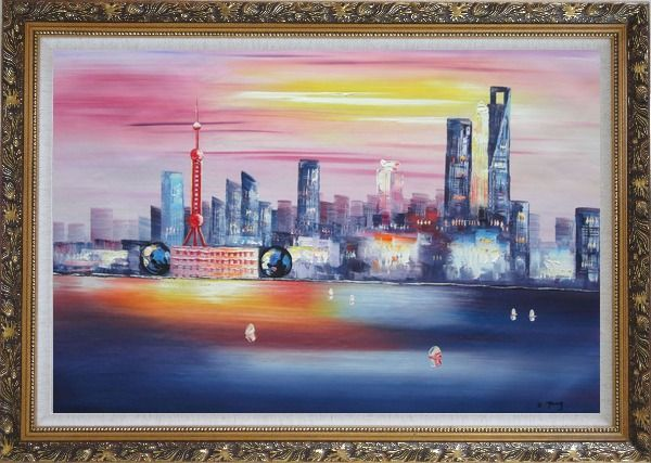 Framed Shanghai Skyline At Huangpu River Oil Painting Cityscape China Modern Ornate Antique Dark Gold Wood Frame 30 x 42 Inches