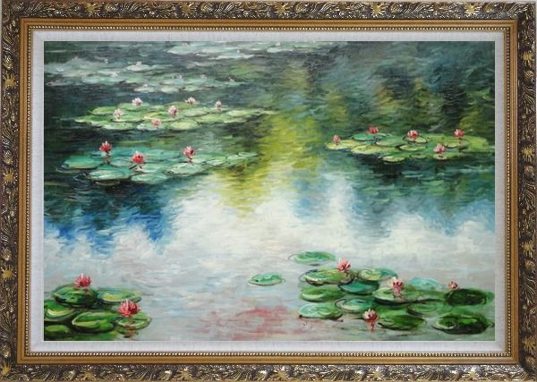 Framed Water Lily Pond in Spring, Monet Reproduction Oil Painting Landscape River Impressionism Ornate Antique Dark Gold Wood Frame 30 x 42 Inches