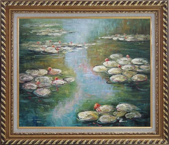 Framed Water Lilies, Monet Reproduction Oil Painting Landscape River Impressionism Exquisite Gold Wood Frame 26 x 30 Inches