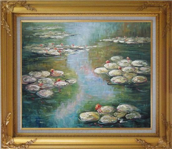 Framed Water Lilies, Monet Reproduction Oil Painting Landscape River Impressionism Gold Wood Frame with Deco Corners 27 x 31 Inches