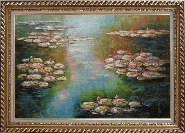 Framed Water Lilies, Monet Reproduction Oil Painting Landscape River Impressionism Exquisite Gold Wood Frame 30 x 42 Inches