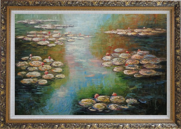 Framed Water Lilies, Monet Reproduction Oil Painting Landscape River Impressionism Ornate Antique Dark Gold Wood Frame 30 x 42 Inches