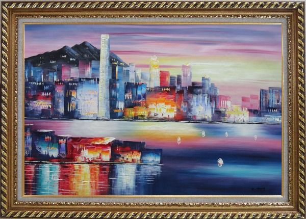 Framed Victoria Bay Skyline Of Hong Kong Oil Painting Cityscape China Modern Exquisite Gold Wood Frame 30 x 42 Inches
